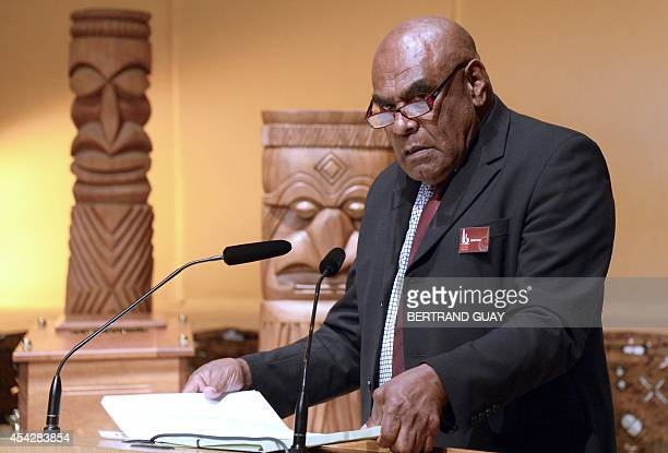 The Great Kanak Chief of the district de La Foa Berge Kawa speaks during a ceremony on August 28 2014 in Paris before the return in NewCaledonia of...