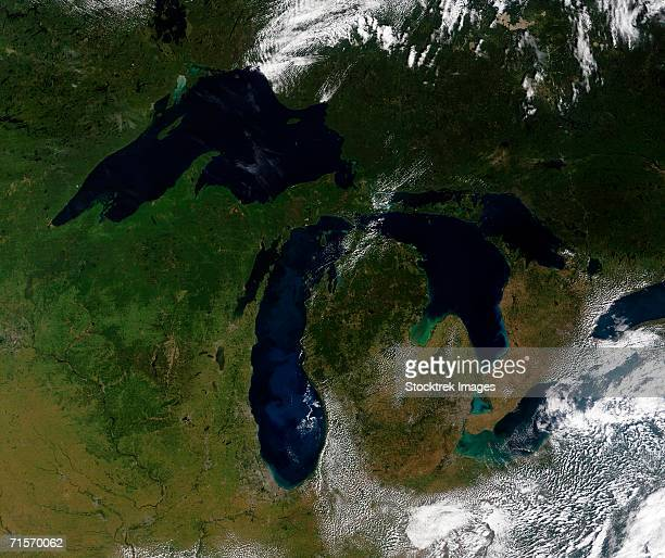 """""""the great lakes, satellite image"""" - great lakes stock pictures, royalty-free photos & images"""