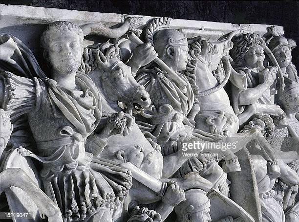 The Great Ludovisi Sarcophagus Battle scenes between the Romans and the Germans Detail of Hostilian son of emperor Decius Italy Roman 3rd century AD