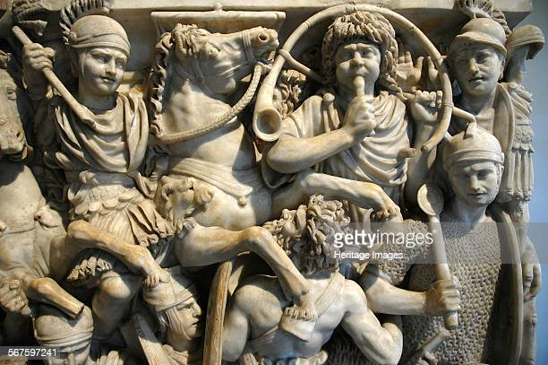 The Great Ludovisi Sarcophagus Battle scenes between the Romans and the Germans who can be identified by their different clothing and their beards...