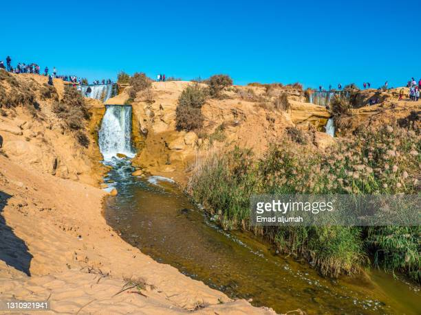 the great man-made waterfall in wadi el rayan, fayoum oasis, cairo, egypt - egypt stock pictures, royalty-free photos & images