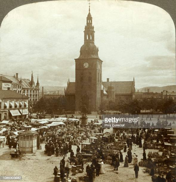 The Great Market around statue Christian IV east to Church of Our Saviour Christiania Norway' circa 1905 From The Underwood Travel Library Norway...