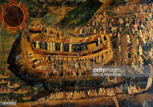 The Great Martyrdom of Nagasaki September 10 painted by an anonymous artist on Japanese paper 126x170 cm Church of the Gesu Rome Italy 17th century