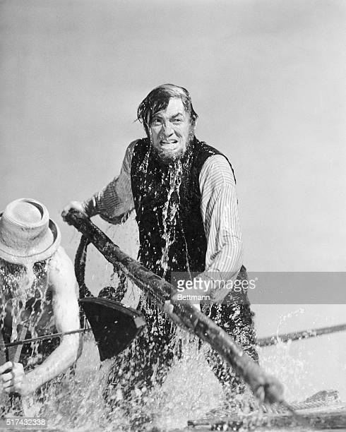 The great moment comes for Gregory Peck the mad scarred and peglegged commander of the whaler 'Pequod' as his whaleboat comes within striking...
