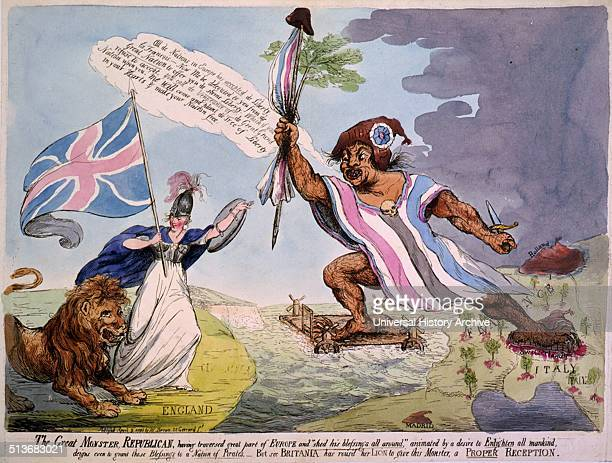 The great Monster Republican having traversed a great part of Europe sees Britannia has roused her lion to give this monster a proper reception...