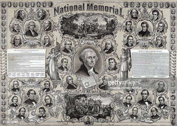 The great national memorial' Portraits of George Washington Thomas Jefferson Andrew Jackson Jefferson Davis and Abraham Lincoln with portraits of...