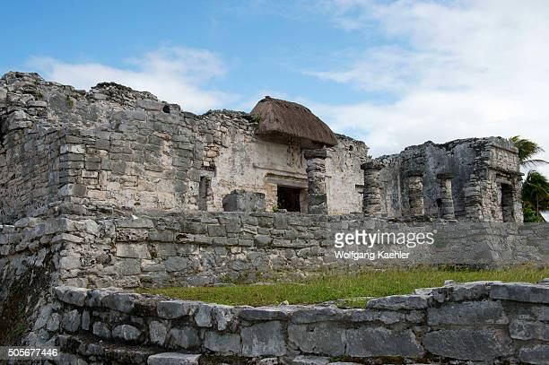 The Great Palace in Tulum which is the site of a PreColumbian Mayan walled city along the east coast of the Yucatán Peninsula on the Caribbean Sea in...