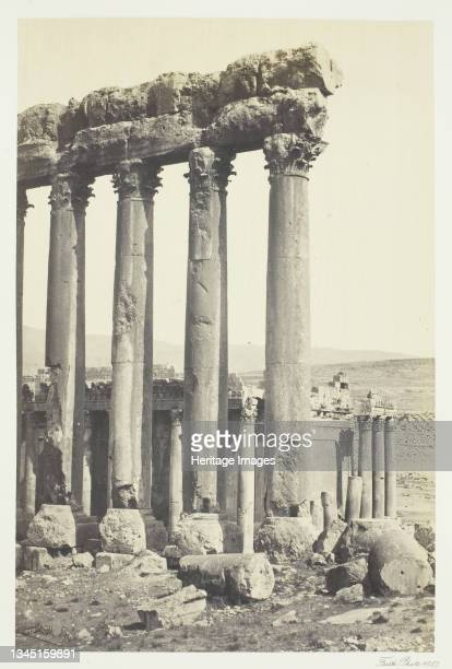 """The Great Pillars and Smaller Temple, Baalbec, 1857. Albumen print, pl. 30 from the album """"Egypt and Palestine, volume i"""" . Artist Francis Frith."""