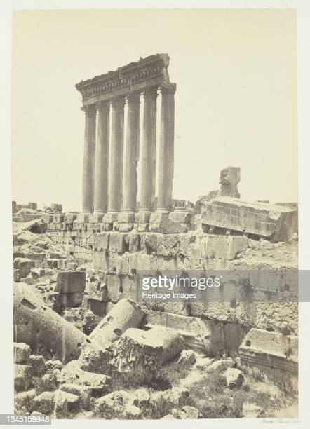"""The Great Pillars at Baalbec, 1857. Albumen print, pl. 23 from the album """"Egypt and Palestine, volume i"""" . Artist Francis Frith."""