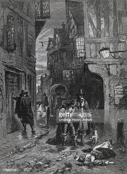 The Great Plague of London 1665 Distressing views in the streets Engraving c1880