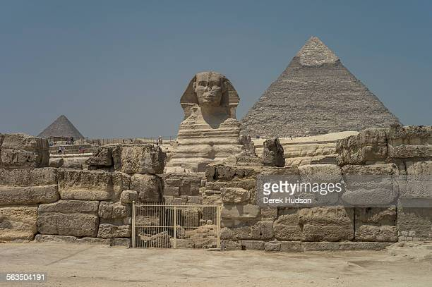 The 'Great Pyramid' looms over the sphinx and the second largest pyramid of the three on this site at left seen at just after dawn