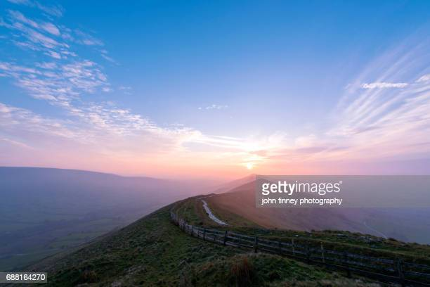The Great Ridge at sunrise in the English Peak District. UK.