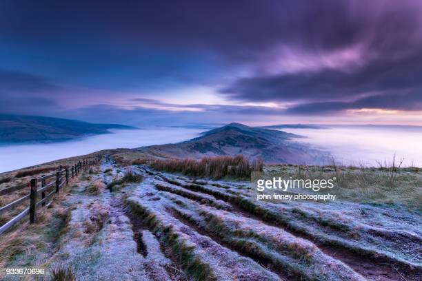 The Great Ridge frosty sunrise in the English Peak District. UK.