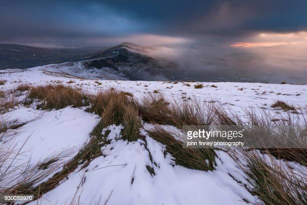 The Great Ridge snowy sunrise in the English Peak District. UK.