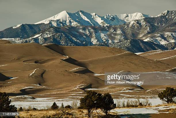 the great sand dunes & mt herard - mt wilson colorado stock photos and pictures