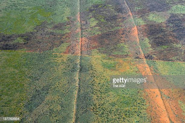 The Great Sandy Desert from the air after rain on September 6, 2011 in Australia.