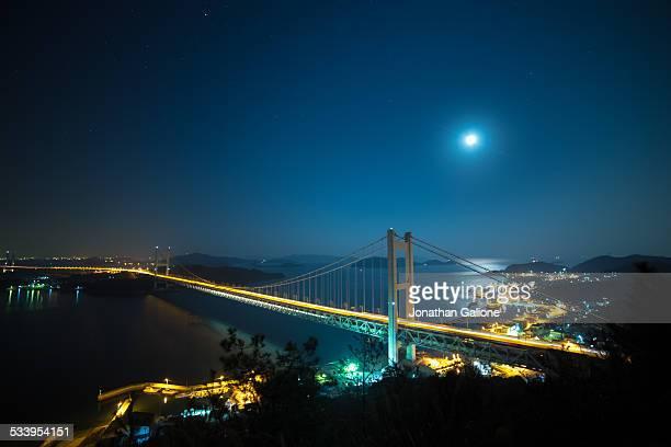 the great seto bridge at night - kagawa ストックフォトと画像