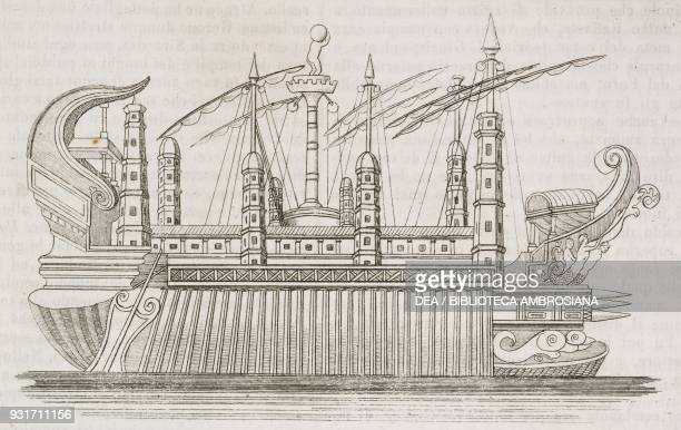 The great ship of Syracuse known as the Archimedes Sitialia Italy engraving from L'album giornale letterario e di belle arti January 31 Year 12