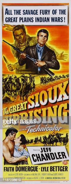 The Great Sioux Uprising poster US poster top from left John War Eagle Jeff Chandler bottom from left Jeff Chandler Faith Domergue 1953