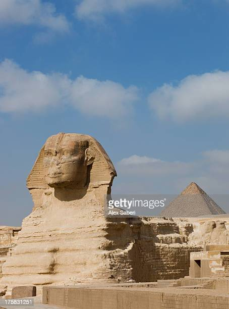 the great sphinx and pyramids of giza on a sunny day. - alex saberi stock-fotos und bilder