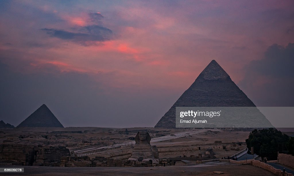 the Great Sphinx and the Great Pyramids of Giza, Egypt : Stock Photo