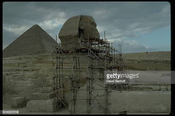 The Great Sphinx at Giza undergos restoration to 4500 year old form Erosion has been constant enemy of the Sphinx many of stone blocks around the...
