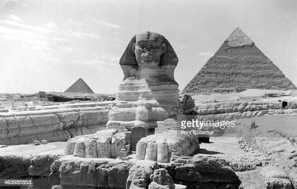 The Great Sphinx of Giza Egypt May 1949 The Pyramid of Khafre is in the background