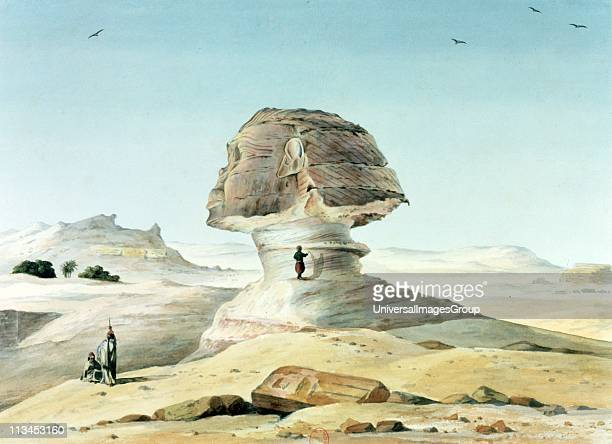 The Great Sphinx of Giza Watercolour Emile Prisse d'Avennes French architect engineer and orientalist Ancient Egyptian statue of mythical figure of...