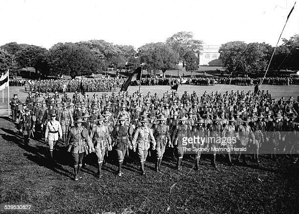 The Great Sydney Peace March and victory celebration on Armistice Day 11 November 1918/1919. Australian and New Zealand troops gathering to remember...