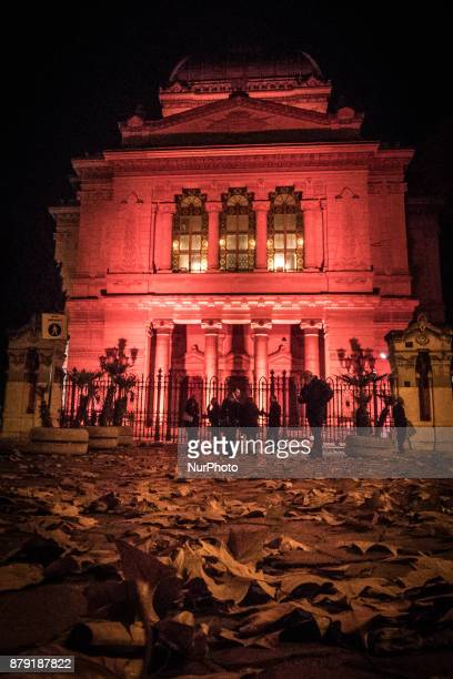 The Great Synagogue of Rome is illuminated for the first time in orange to mark International Day To End Violence Against Women on November 25 2017...