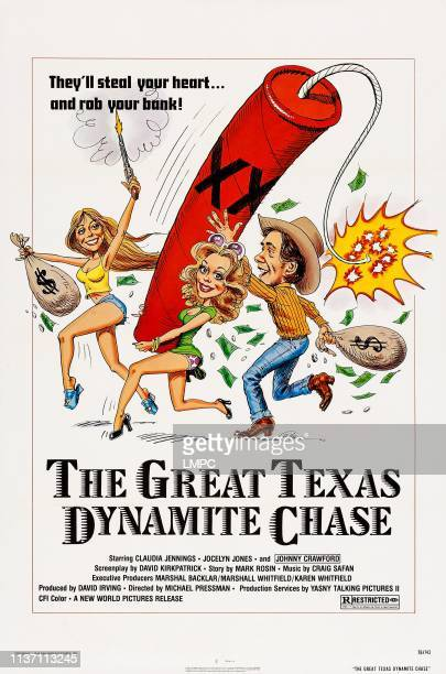 The Great Texas Dynamite Chase poster US poster art from left Claudia Jennings Jocelyn Jones Johnny Crawford 1976