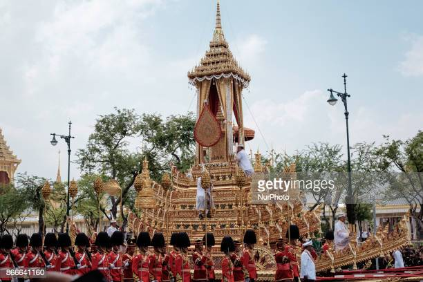 The Great Victory Chariot carries the Royal Urn at the funeral procession of the late Thai King Bhumiphol Adulyadej in Bangkok on October 26 2017