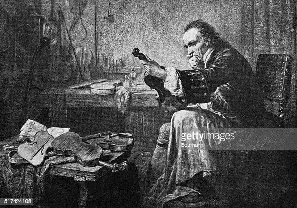 The Great Violin Maker In His Work Shop As we look at the grave studious face of Antonio Stradivari we feel the spirit of devotion to his art which...