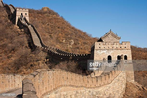 the great wall (mutianyu) of beijing,china - tower stock pictures, royalty-free photos & images