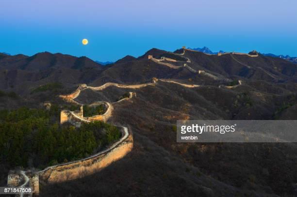 The great wall of china at moonrise