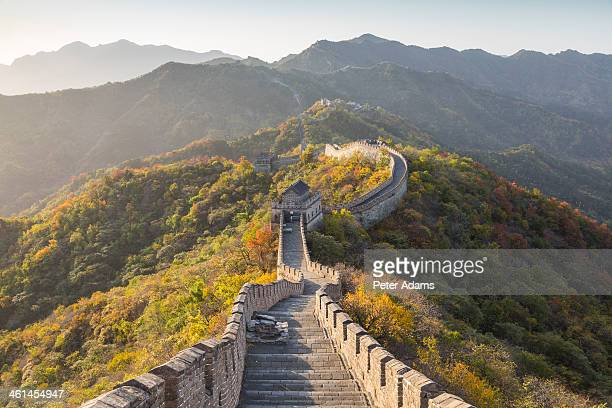 the great wall of china at mutianyu near beijing - castle wall stock pictures, royalty-free photos & images