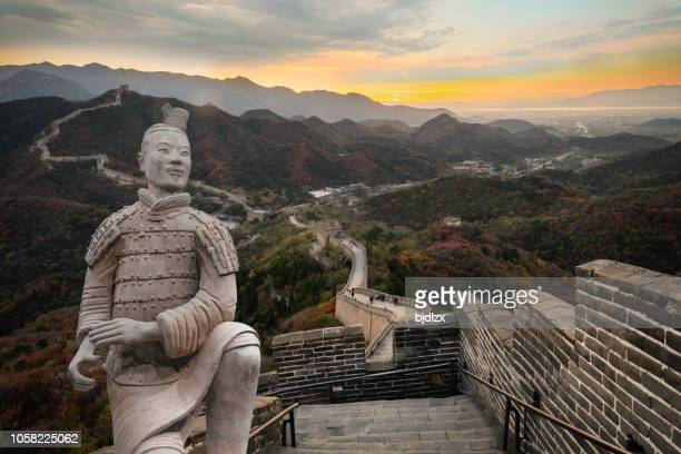 the great wall terracotta army of china - terracotta army stock pictures, royalty-free photos & images