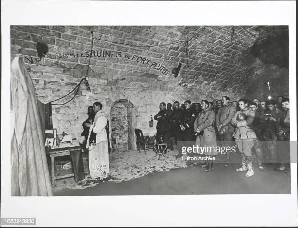 The Great War Midnight Mass resting for a while from their gallant labors in defence of Fort De Douamont these Frenchmen attend a midnight...