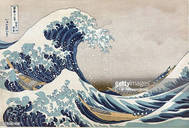 The Great Wave off the coast at Kanagawa c1830 From 'Thirtysix Views of Mount Fuji' c1831 Katsushika Hokusai Japanese Ukiyoe artist Men crouch in...