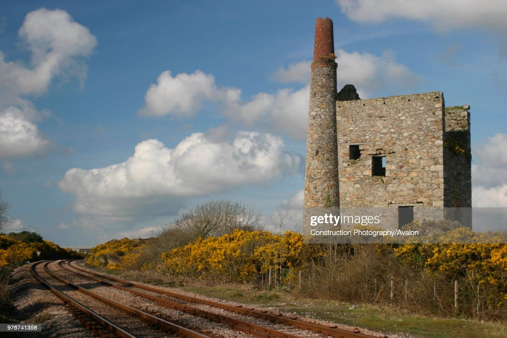 The Great Western Main Line passes the disused tin mine at Scorrier in Cornwall. April 2004 : News Photo