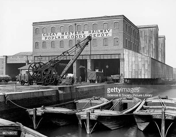 The Great Western Railway's goods depot at Poplar Docks London c 1900 Goods were conveyed to and from seagoing vessels on the River Thames in...