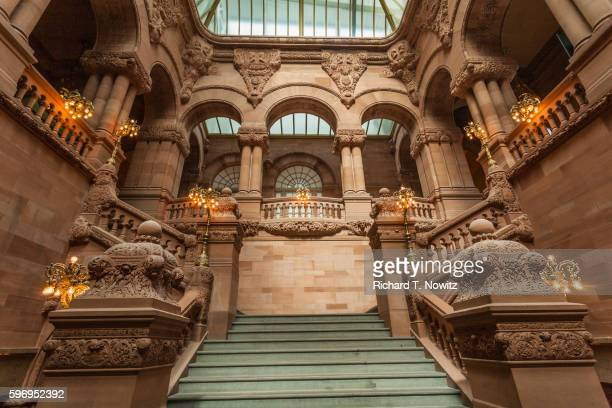 the great western staircase at the new york state capitol - ニューヨーク州庁舎 ストックフォトと画像