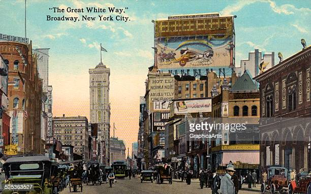 The 'Great White Way' or Broadway in New York City handcolored photograph 1921