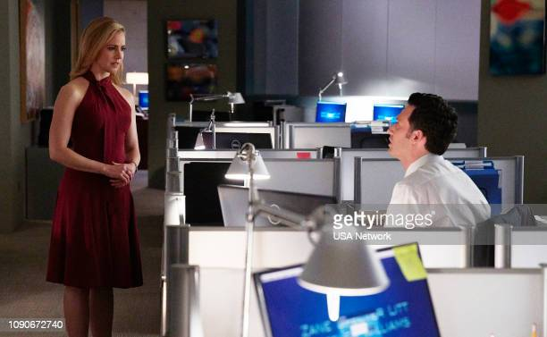 SUITS 'The Greater Good' Episode 813 Pictured Amanda Schull as Katrina Bennett Jake Epstein as Brain Altman