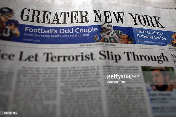 The Greater New York section of The Wall Street Journal is seen on April 26 2010 in New York New York The Wall Street Journal commenced a New York...
