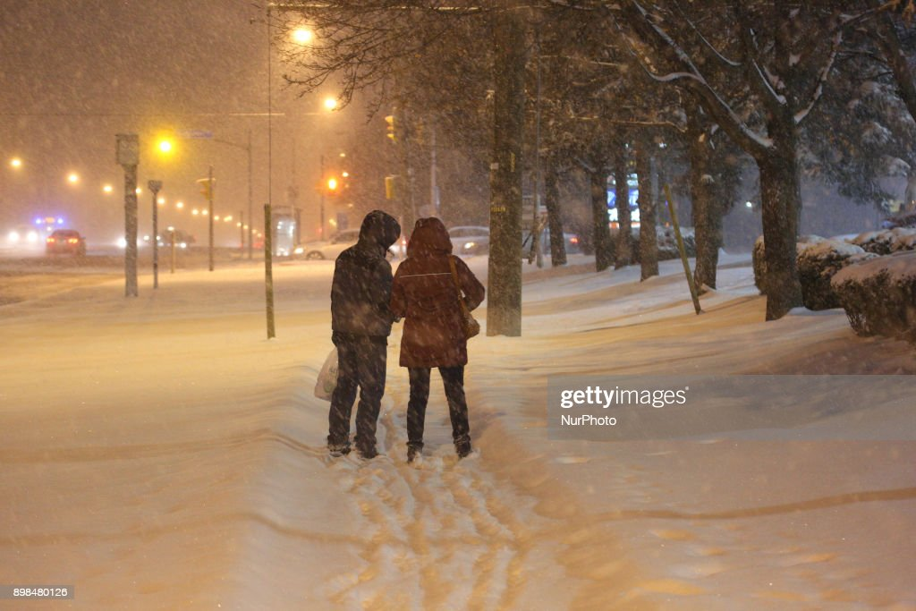 The Greater Toronto Area is covered in 15-20 centimeters of snow during a snowstorm in Toronto, Ontario, Canada, on December 24, 2017. Residents will wake up to a white Christmas.