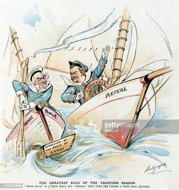 The greatest race of the yachting season by Louis Dalrymple 18661905 artist 1893 President Cleveland at the helm labelled 'Congress' of a yacht...