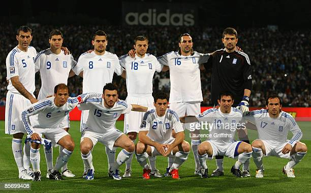 The Greece Team duing the FIFA 2010 World Cup Qualifier between Israel and Greece at The Ramat Gan National Stadium on March 28 2009 in Tel Aviv...