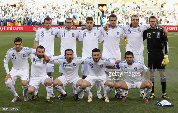 The Greece team line up ahead of the 2010 FIFA World Cup South Africa Group B match between Greece and Nigeria at the Free State Stadium on June 17...