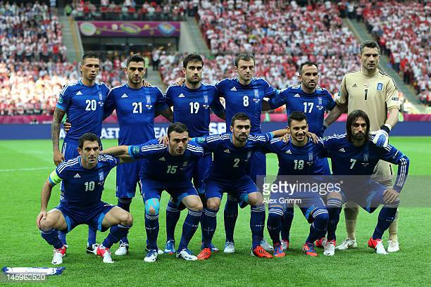 The Greece team line up ahead of the UEFA EURO 2012 group A match between Poland and Greece at National Stadium on June 8 2012 in Warsaw Poland
